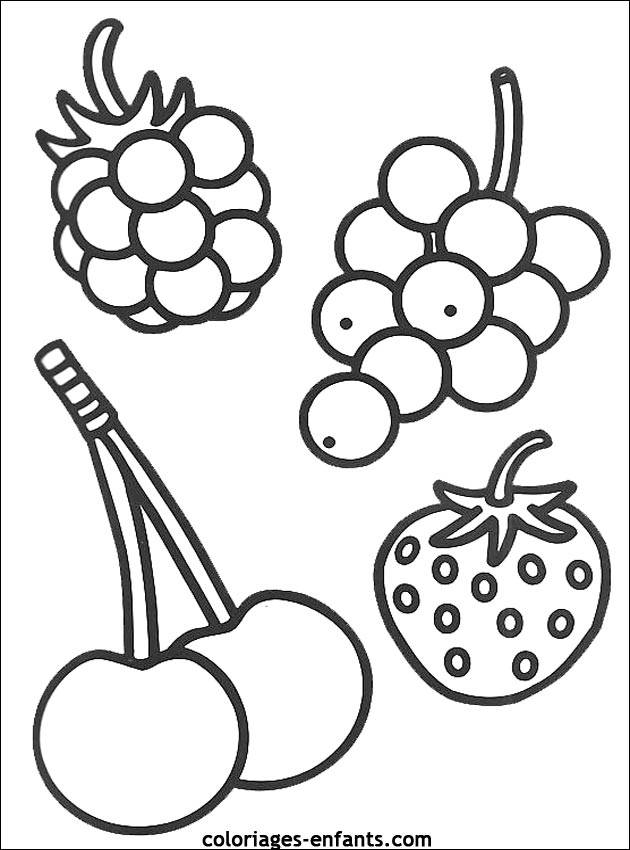 Free coloring and drawings Fruits in black and white Coloring page