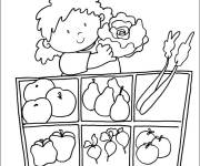 Coloring pages Girl at the vegetable market
