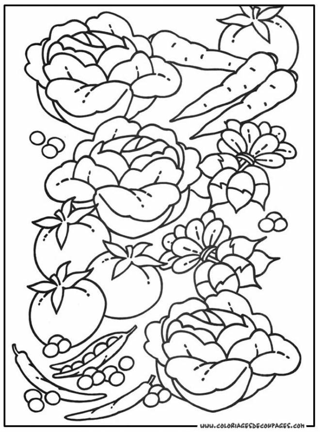 Free coloring and drawings Healthy vegetables Coloring page