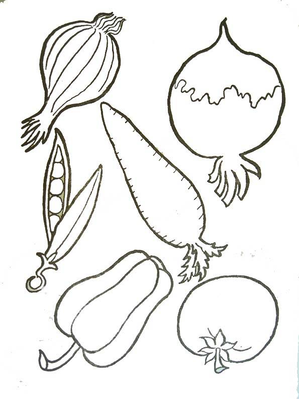 Free coloring and drawings Stylized vegetables Coloring page