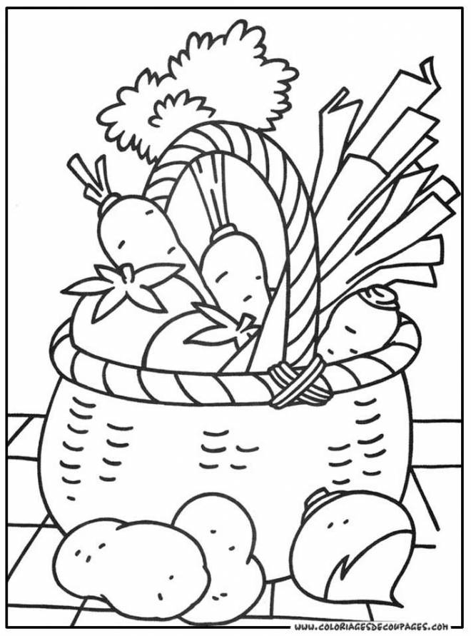 Free coloring and drawings Vegetables for decoration Coloring page