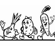 Coloring pages Vegetables in motion