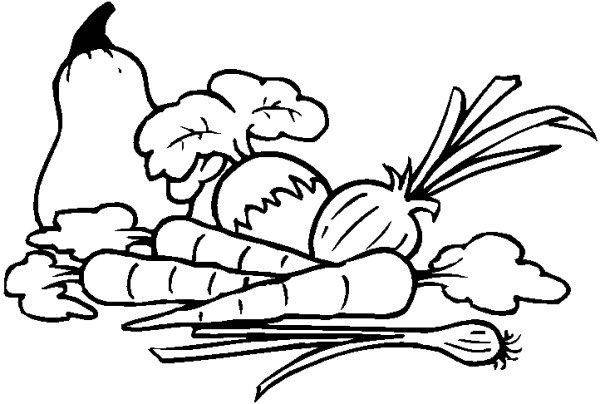 Free coloring and drawings Vegetables on Table Coloring page