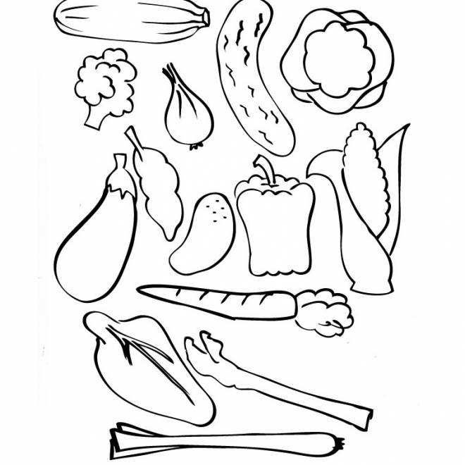 Free coloring and drawings Vegetables to decorate Coloring page