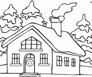 Coloring pages A house in winter