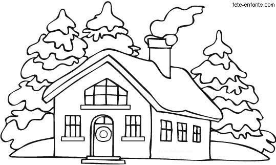 Free coloring and drawings A house in winter Coloring page