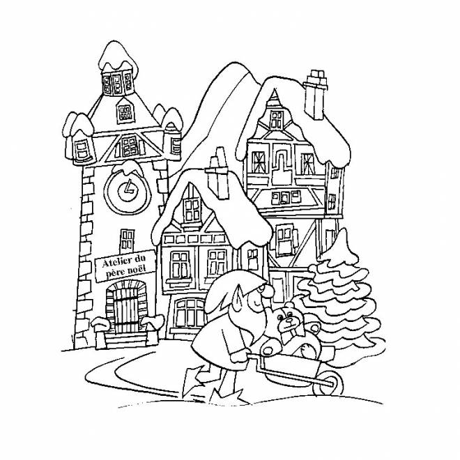 Free coloring and drawings Adult Winter Landscape Coloring page