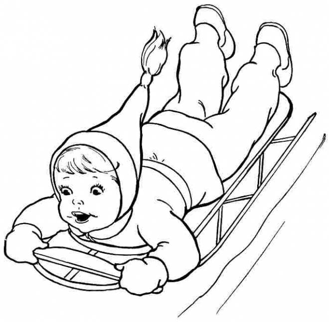Free coloring and drawings Amused girl in snow Coloring page