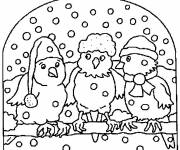 Coloring pages Birds in the Snow