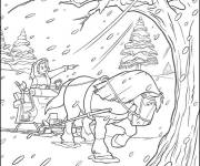 Coloring pages cartoon winter horse
