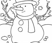Coloring pages Cheerful snowman