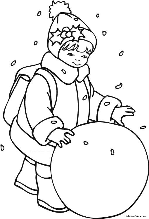 Free coloring and drawings Child and the Snowball Coloring page