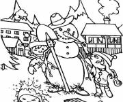Coloring pages Children and Snow
