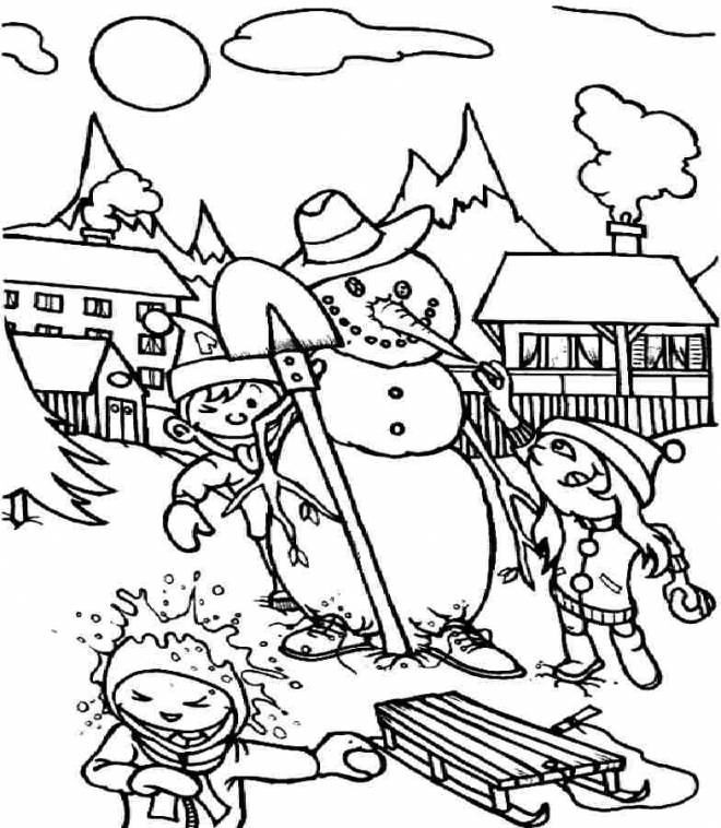 Free coloring and drawings Children and Snow Coloring page