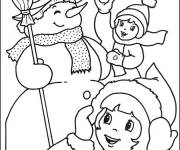 Coloring pages Children and the Snowman