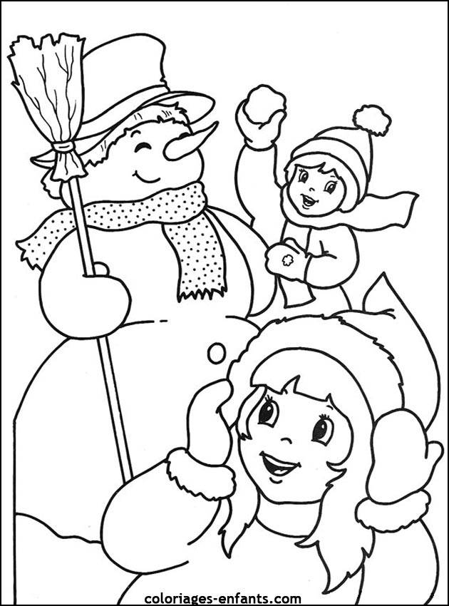 Free coloring and drawings Children and the Snowman Coloring page