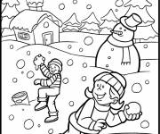 Coloring pages Children have fun in the Snow