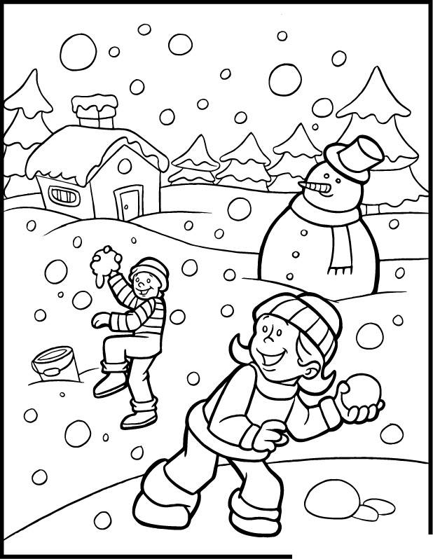 Free coloring and drawings Children have fun in the Snow Coloring page