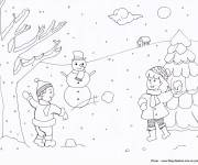 Coloring pages Children have fun with snow