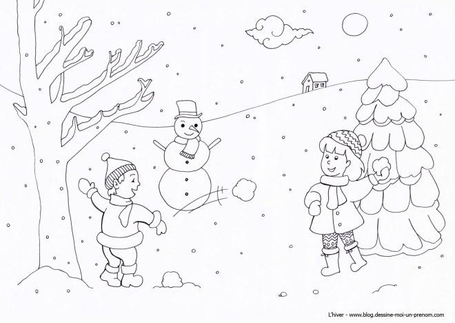 Free coloring and drawings Children have fun with snow Coloring page