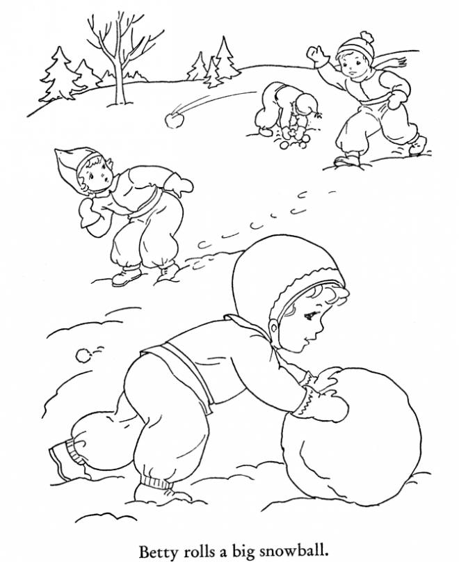 Free coloring and drawings Children having fun in Winter Coloring page