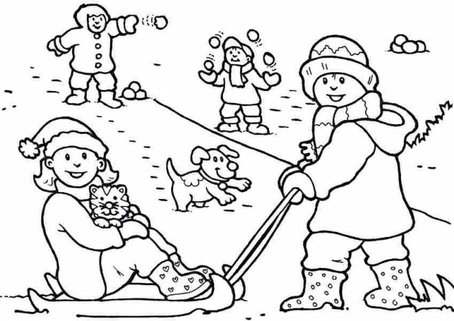 Free coloring and drawings Children play with Snow Coloring page