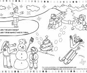 Coloring pages Children's activities during Winter