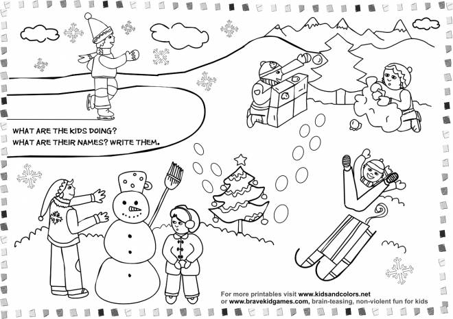 Free coloring and drawings Children's activities during Winter Coloring page