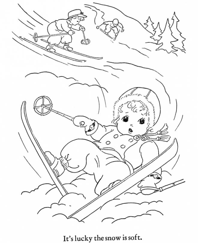 Free coloring and drawings Children Ski Coloring page