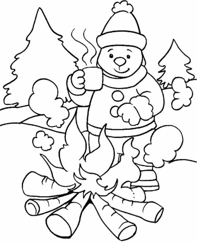 Free coloring and drawings Cold winter season Coloring page