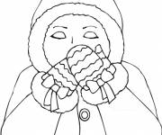 Coloring pages Cold woman