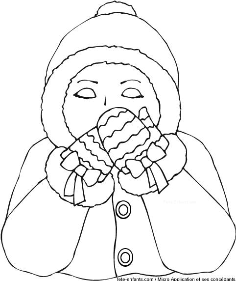Free coloring and drawings Cold woman Coloring page