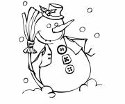 Coloring pages Funny Snowman