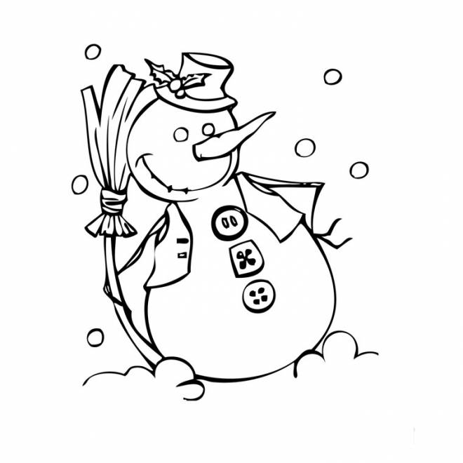 Free coloring and drawings Funny Snowman Coloring page