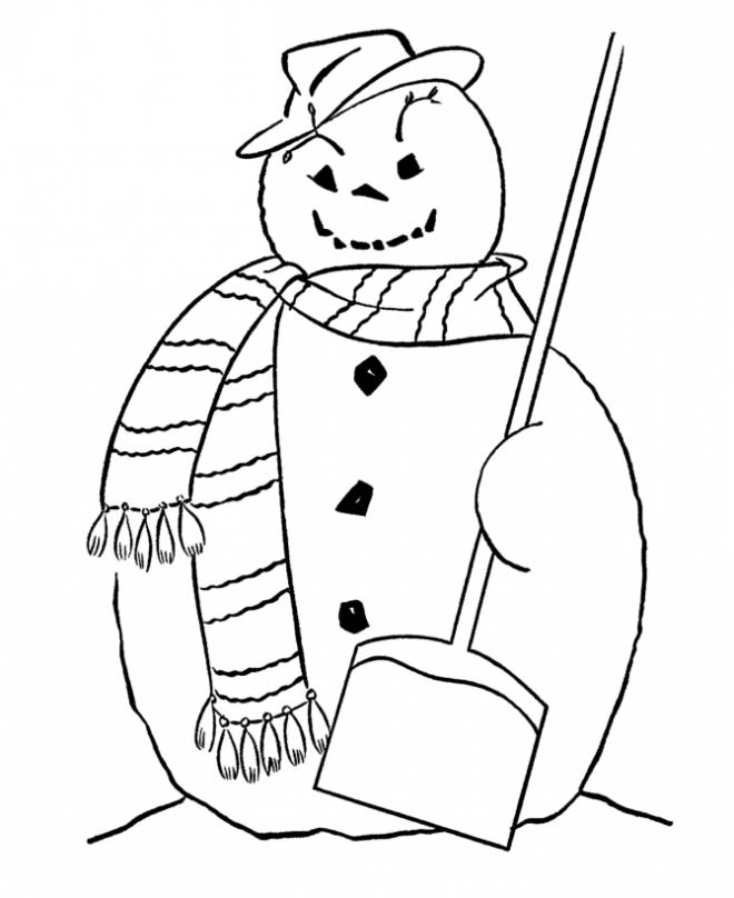 Free coloring and drawings Halloween Snowman Coloring page