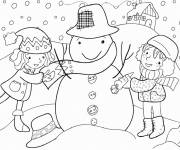 Coloring pages Little Girls and Winter