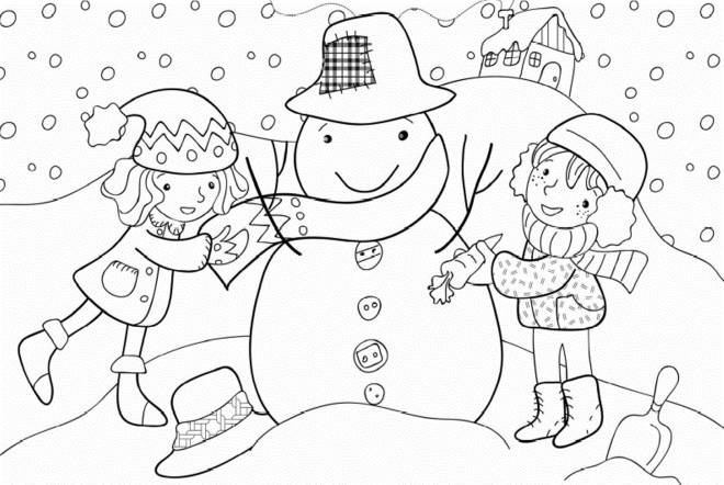 Free coloring and drawings Little Girls and Winter Coloring page