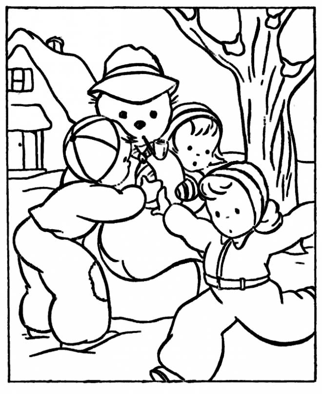 Free coloring and drawings Maternal winter in black and white Coloring page