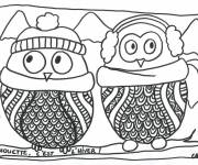 Coloring pages Owl in the winter
