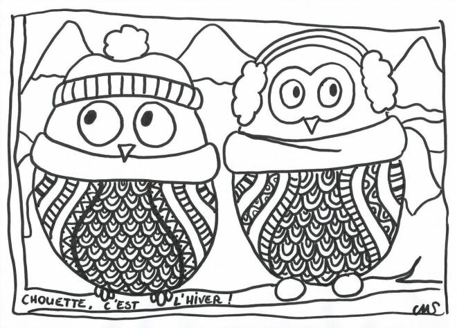 Free coloring and drawings Owl in the winter Coloring page