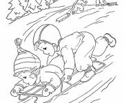 Coloring pages Ski Mountain in Winter