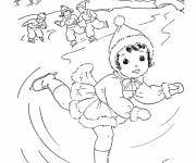 Coloring pages Skiers in Winter