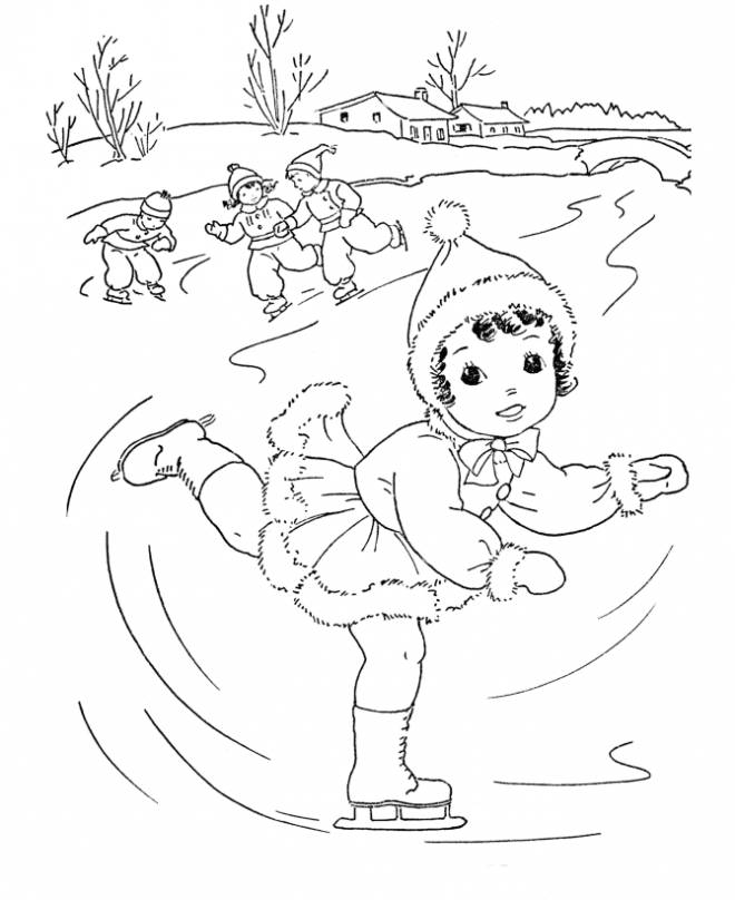 Free coloring and drawings Skiers in Winter Coloring page
