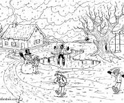 Coloring pages Snow Landscape in the Village