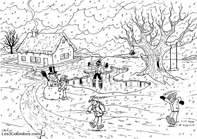 Free coloring and drawings Snow Landscape in the Village Coloring page