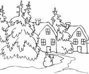 Coloring pages Snow Landscape in White
