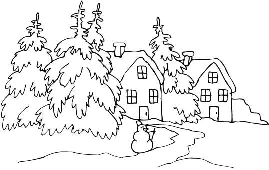 Free coloring and drawings Snow Landscape in White Coloring page