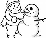 Coloring pages Snowman and the Boy