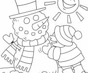 Coloring pages Snowman in the Sun