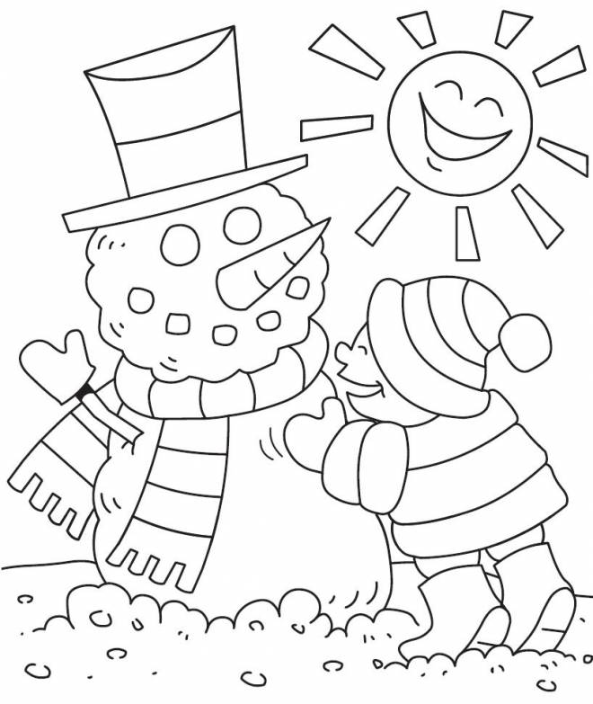 Free coloring and drawings Snowman in the Sun Coloring page